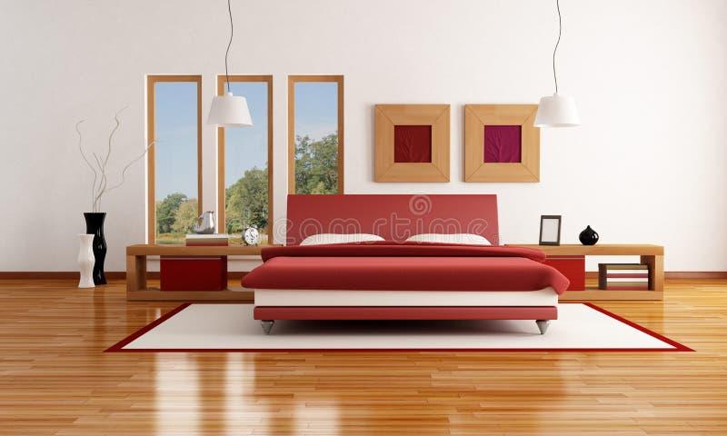 Camera Da Letto Moderna Rossa E Bianca Illustrazione di Stock ...