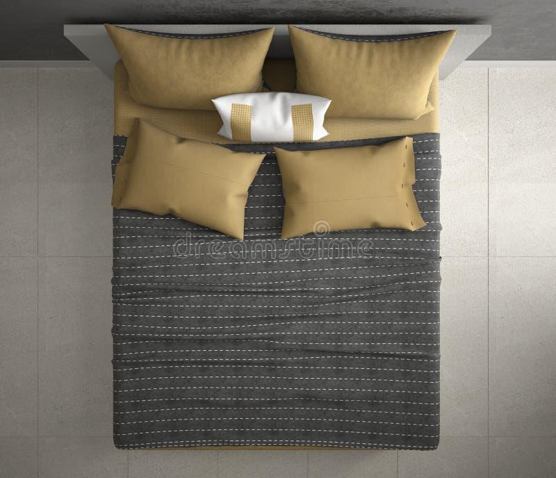Camera da letto moderna, vista superiore, primo piano sul doppio letto grigio e giallo, pavimento di marmo, interno contemporaneo immagini stock