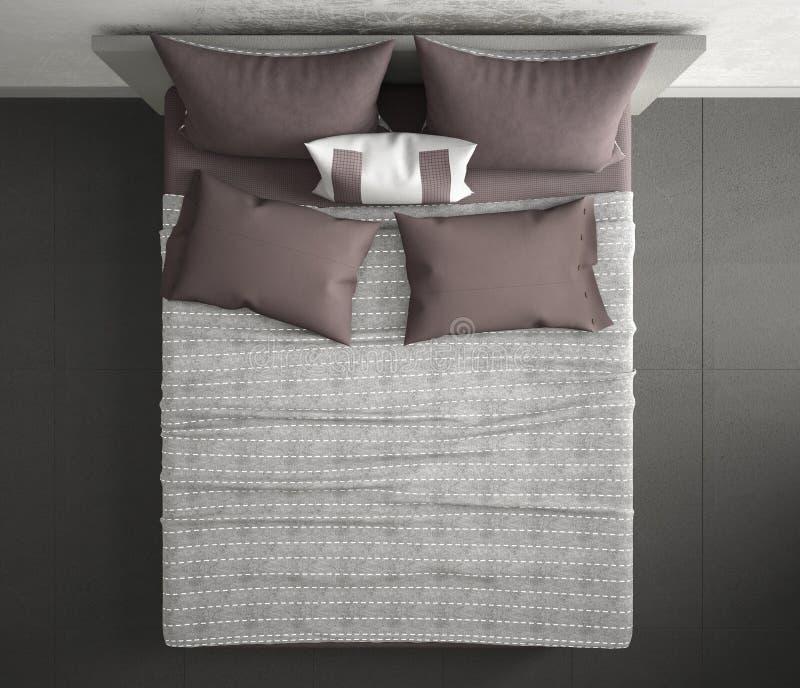 Camera da letto moderna, vista superiore, primo piano sul doppio letto grigio e rosso, pavimento di marmo, interior design contem fotografia stock libera da diritti