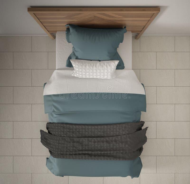 Camera da letto moderna, vista superiore, primo piano sul singolo letto di legno, grigio e blu, pavimento di marmo, interior desi immagine stock