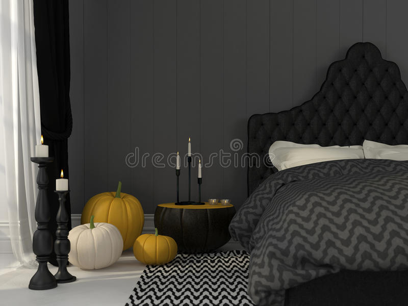 Camera Da Letto Nera Decorata Per Halloween Fotografia Stock ...