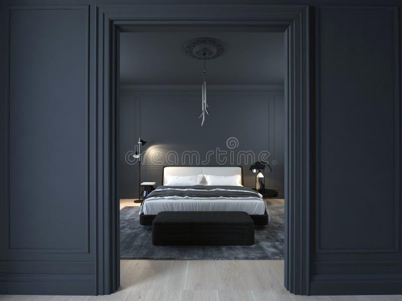 Camera da letto nera minima di lusso con il pavimento di legno fotografia stock libera da diritti