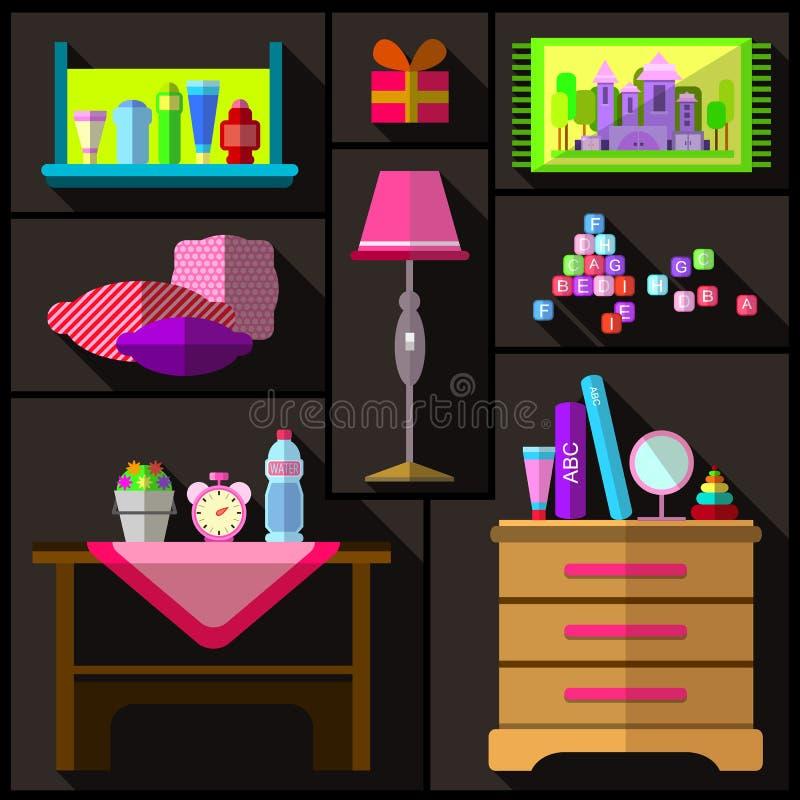 camera da letto per le ragazze un insieme di mobilia e di