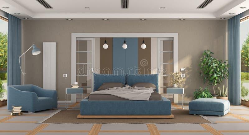 Camera Da Letto Moderna Blu E Marrone Illustrazione di Stock ...