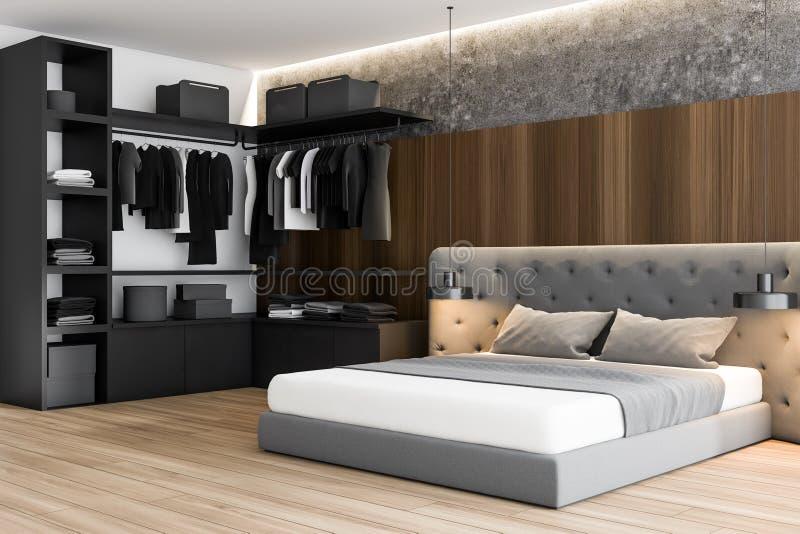 Camera da letto principale grigia e di legno con il guardaroba royalty illustrazione gratis