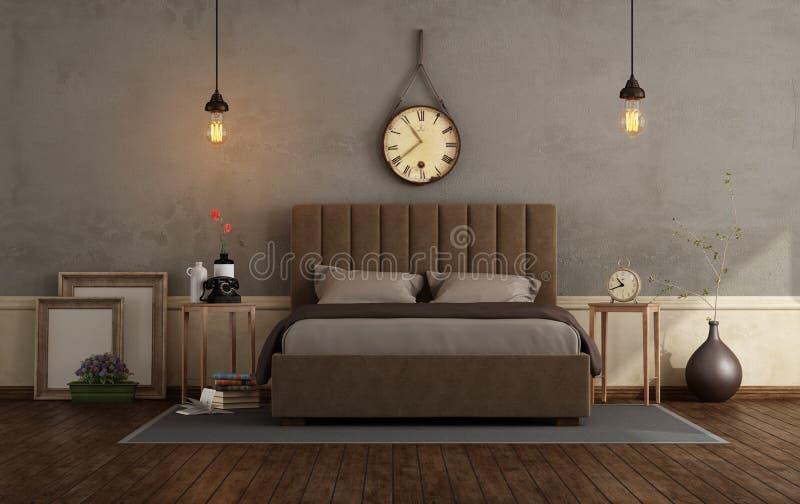 Camera da letto principale retro con letto matrimoniale illustrazione di stock