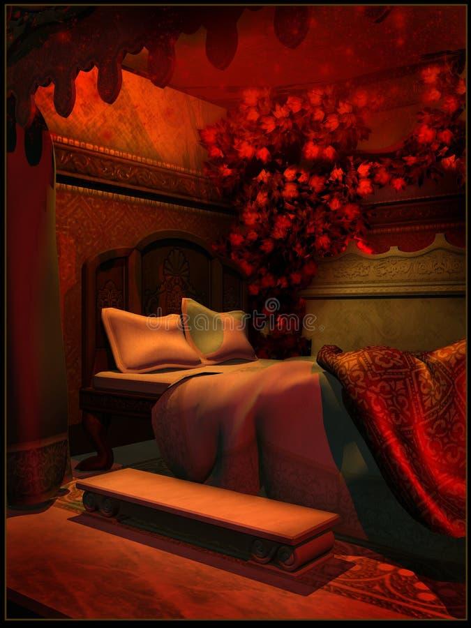 Camera Da Letto Reale Alla Luce Rossa Illustrazione Di