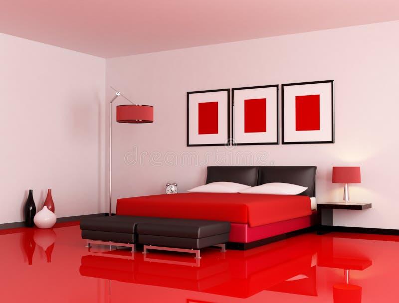 Camera Da Letto Rossa E Nera Moderna Illustrazione di Stock ...