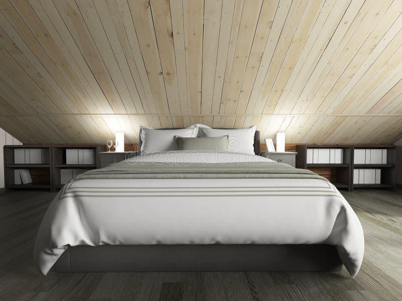 Camera da letto su un pavimento scuro contro una parete di legno rappresentazione 3d illustrazione di stock