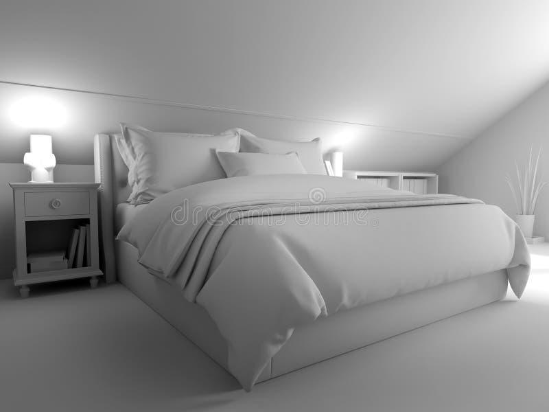 Camera da letto su un pavimento scuro contro una parete di legno rappresentazione 3d royalty illustrazione gratis