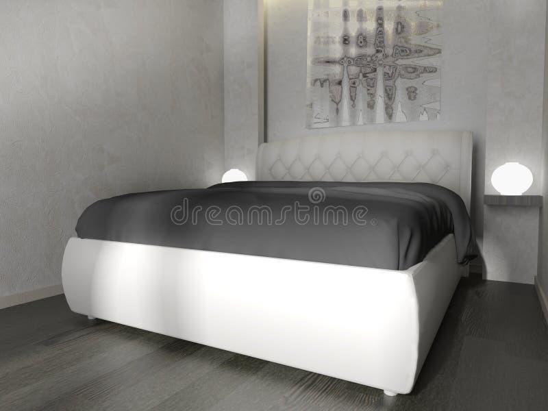 Camera da letto in un interno moderno nei colori luminosi una rappresentazione di 3 d royalty illustrazione gratis