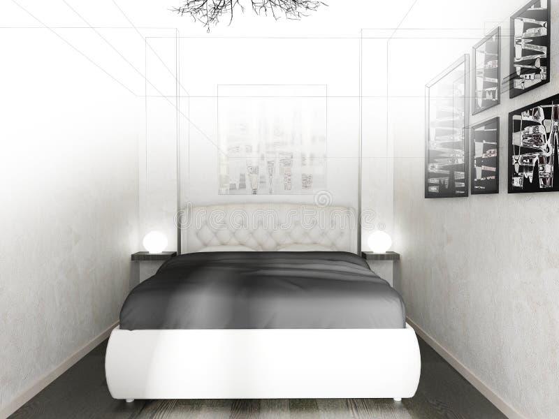 Camera da letto in un interno moderno nei colori luminosi una rappresentazione di 3 d illustrazione di stock