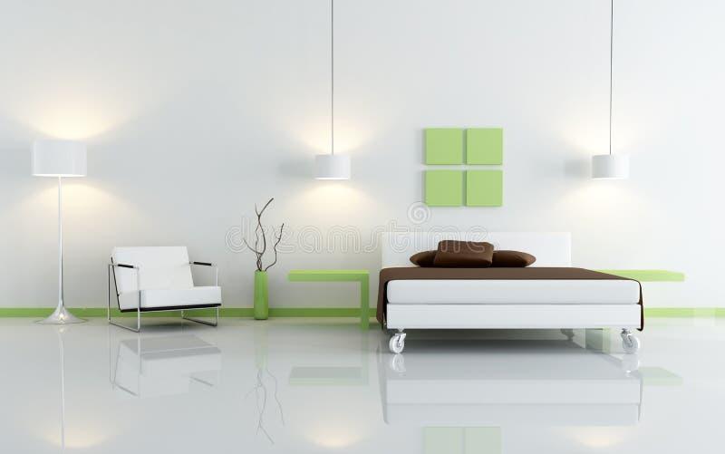 Camera da letto verde e bianca moderna royalty illustrazione gratis