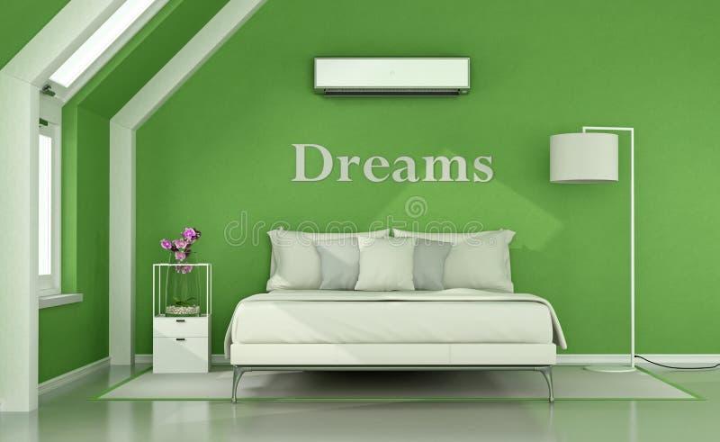 Camera da letto verde nella soffitta illustrazione di stock