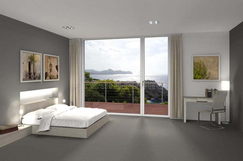 Camera da letto in vista del mare royalty illustrazione gratis
