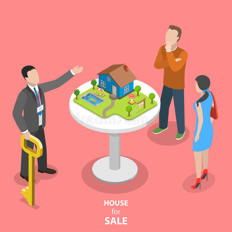 Camera da vendere il concetto piano isometrico di vettore illustrazione vettoriale