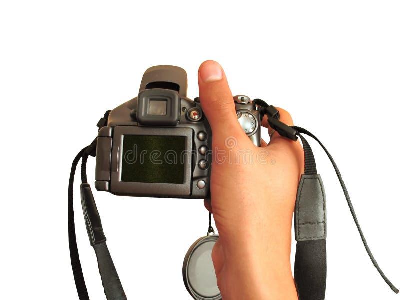 Camera in de hand royalty-vrije stock afbeelding