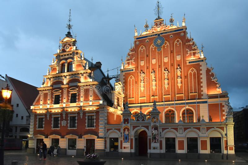 Camera dei comedoni nella vecchia città di Riga, Lettonia fotografia stock libera da diritti