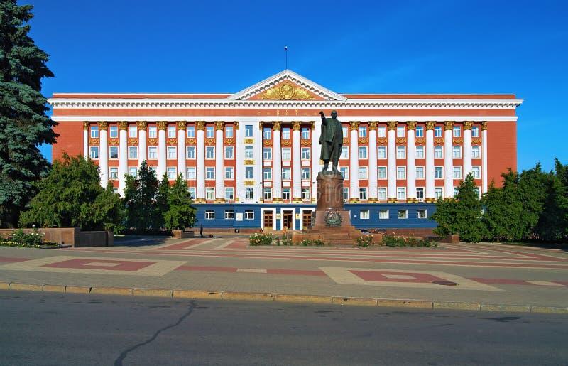 Camera dei Soviet e monumento di Lenin in Kursk fotografia stock