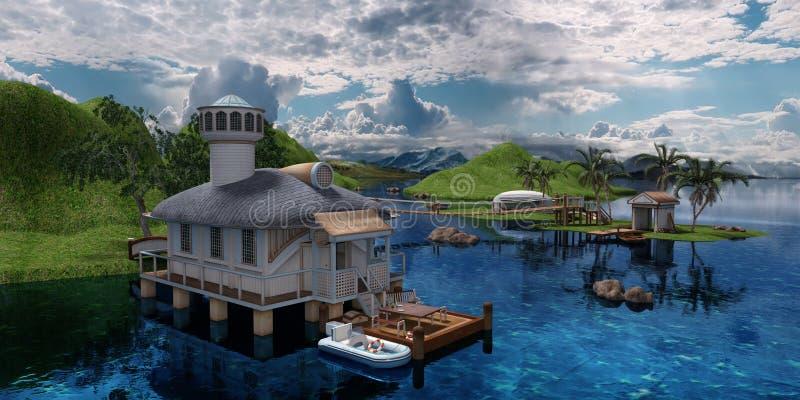 Camera della rappresentazione 3D sul mare illustrazione vettoriale