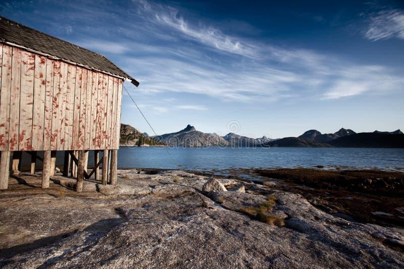 Camera di barca del litorale della Norvegia fotografie stock
