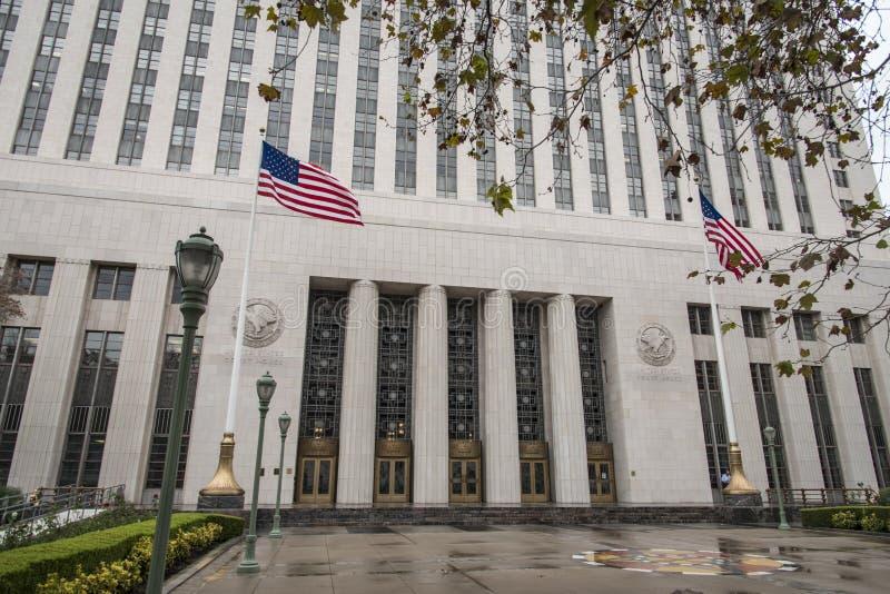Camera di corte degli Stati Uniti a Los Angeles un giorno piovoso fotografia stock