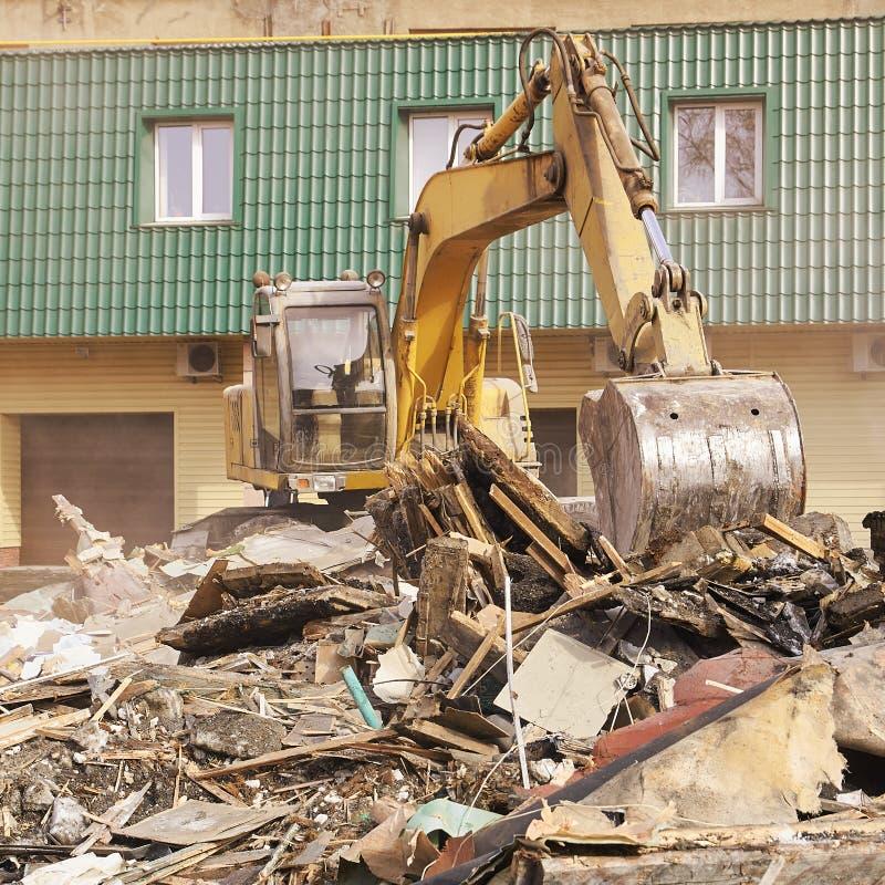 Camera di demolizione Rinnovamento di costruzione alla città Interruttore industriale fotografia stock libera da diritti