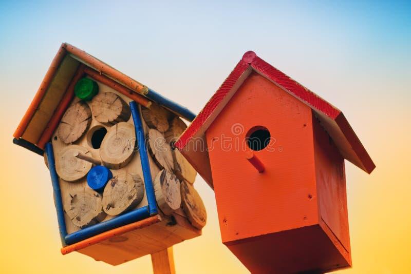 Camera di legno degli uccelli di colori creativi fotografia stock