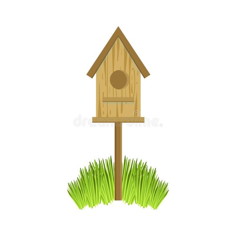 Camera di legno dell'uccello su erba royalty illustrazione gratis