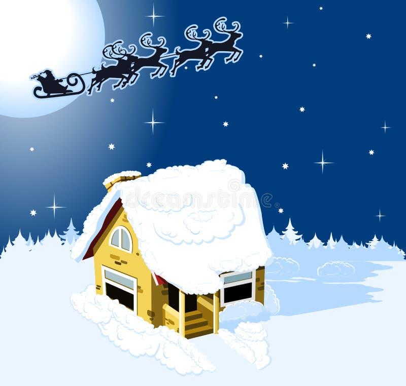 Camera di natale in neve royalty illustrazione gratis