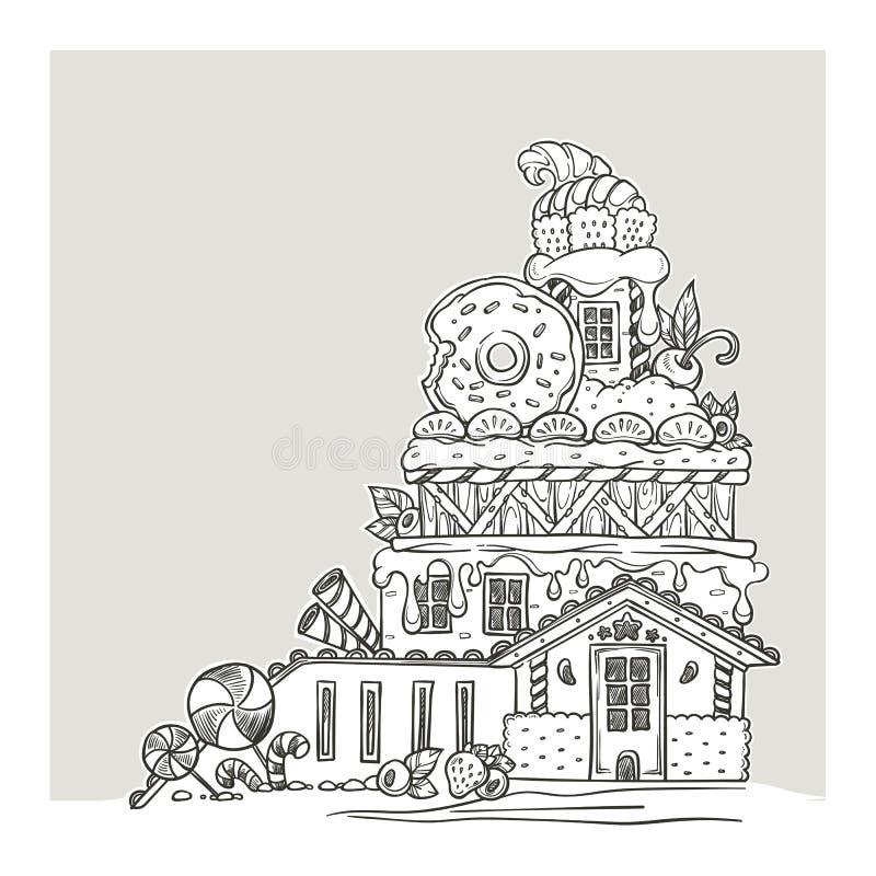 Camera di pan di zenzero, castello adorabile del fumetto, fatto dai dolci, Cand royalty illustrazione gratis