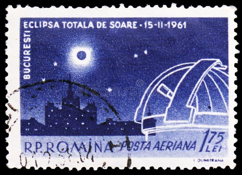 Camera di Scinteia a Bucarest con l'eclissi totale, serie, circa 1961 fotografia stock libera da diritti
