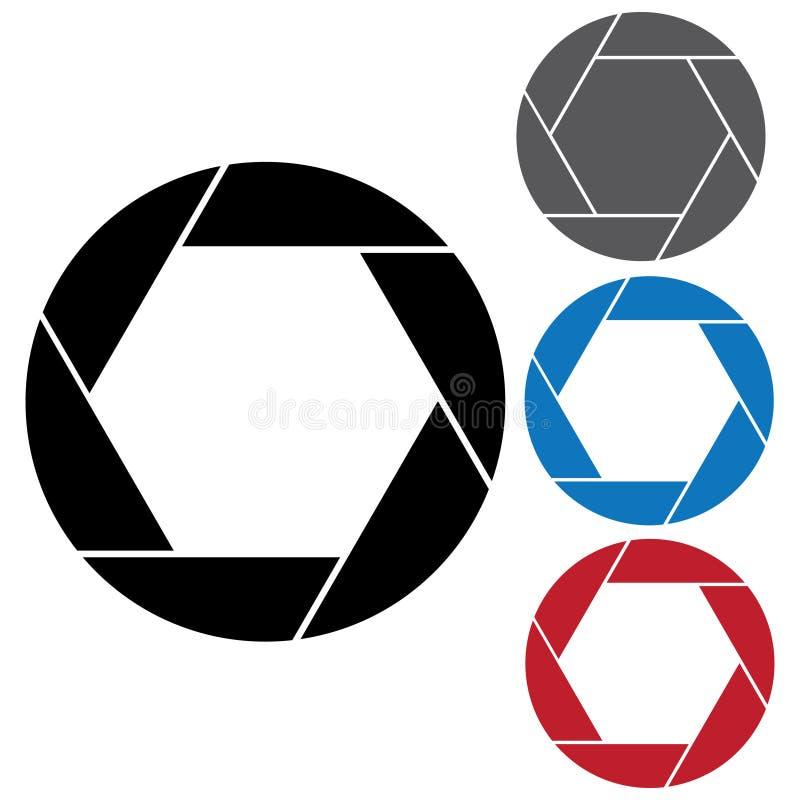 Camera diaphragm blade. 4 piece diaphragm camera shutter blade vector illustration