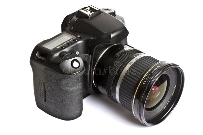 Camera DSLR die op wit wordt geïsoleerde royalty-vrije stock afbeeldingen