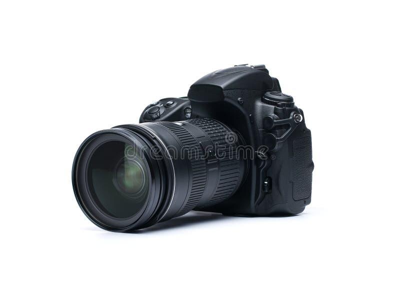 Camera DSLR op wit stock foto