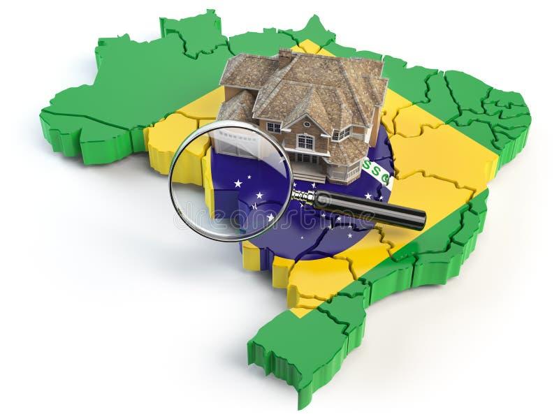 Camera e lente di ingrandimento sulla mappa del Brasile a colori del fla australiano illustrazione vettoriale