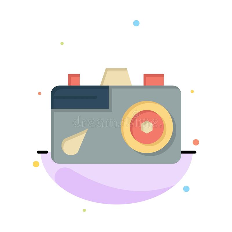 Camera, Education, Image, Picture Abstract Flat Color Icon Template vector illustration