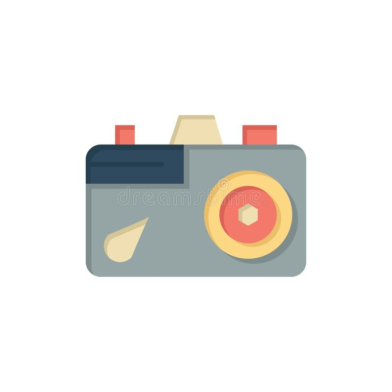 Camera, Education, Image, Picture  Flat Color Icon. Vector icon banner Template royalty free illustration