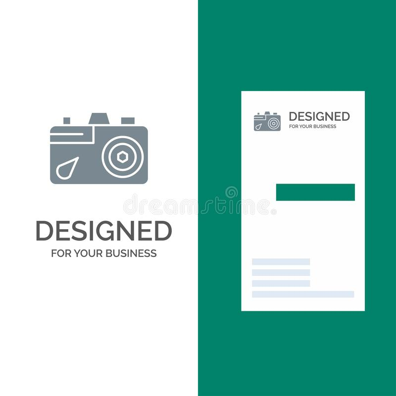 Camera, Education, Image, Picture Grey Logo Design and Business Card Template vector illustration