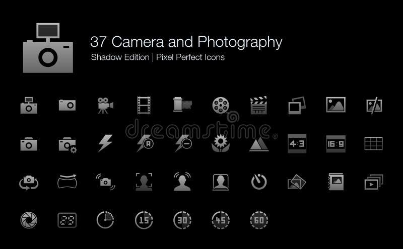Camera en Fotografie de Schaduwuitgave van Pixel Perfecte Pictogrammen royalty-vrije illustratie