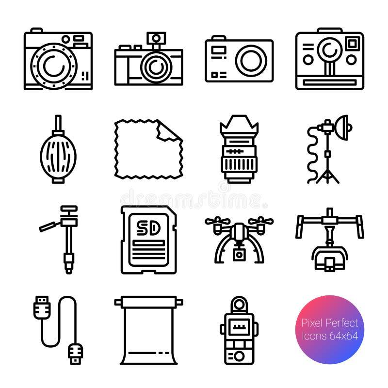 Camera en materiaaloverzichtspictogrammen stock illustratie