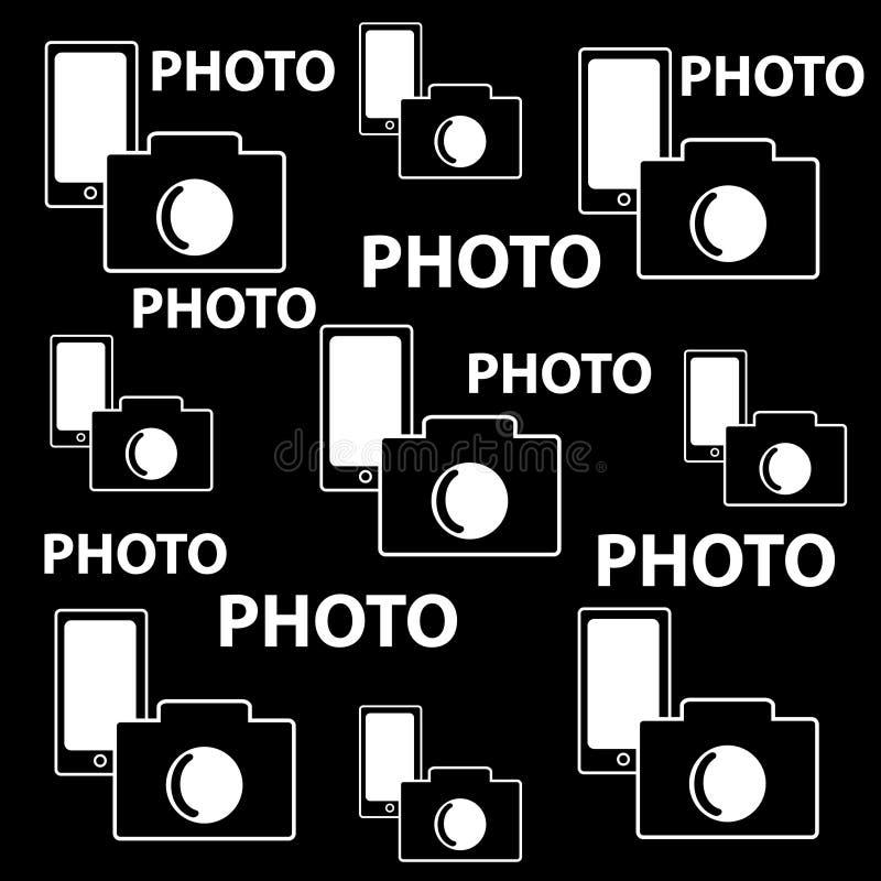 Camera en mobiele achtergrond met tekstfoto stock illustratie