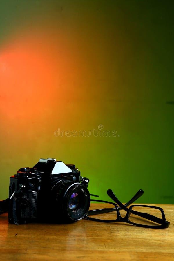 Camera en oogglazen stock foto's