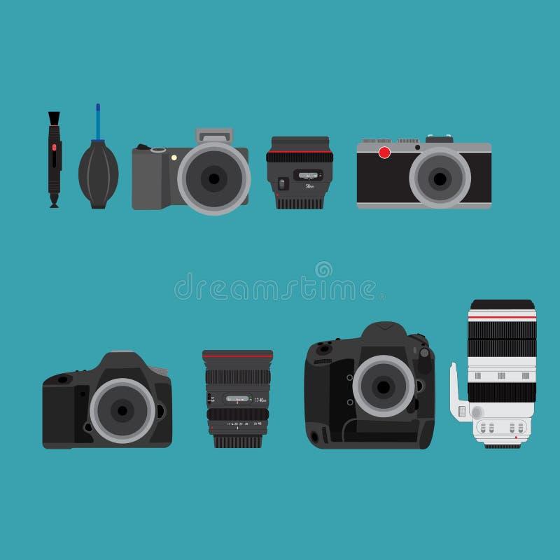 Camera en toebehoren vector illustratie