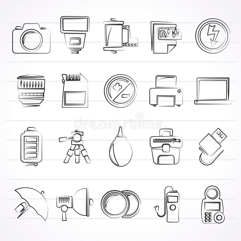 Camera equipment and photography icons stock illustration