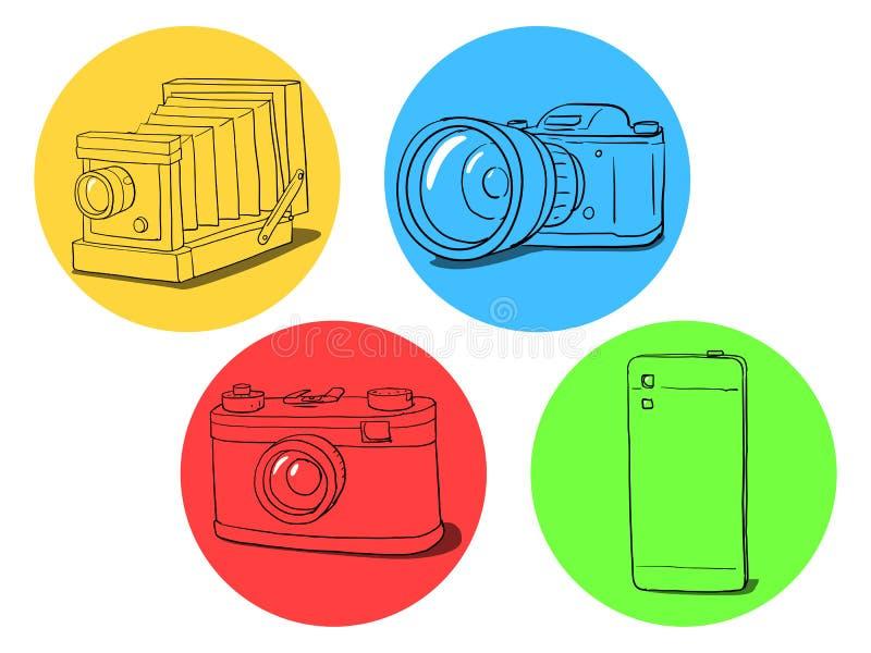 Camera evolution illustration royalty free illustration