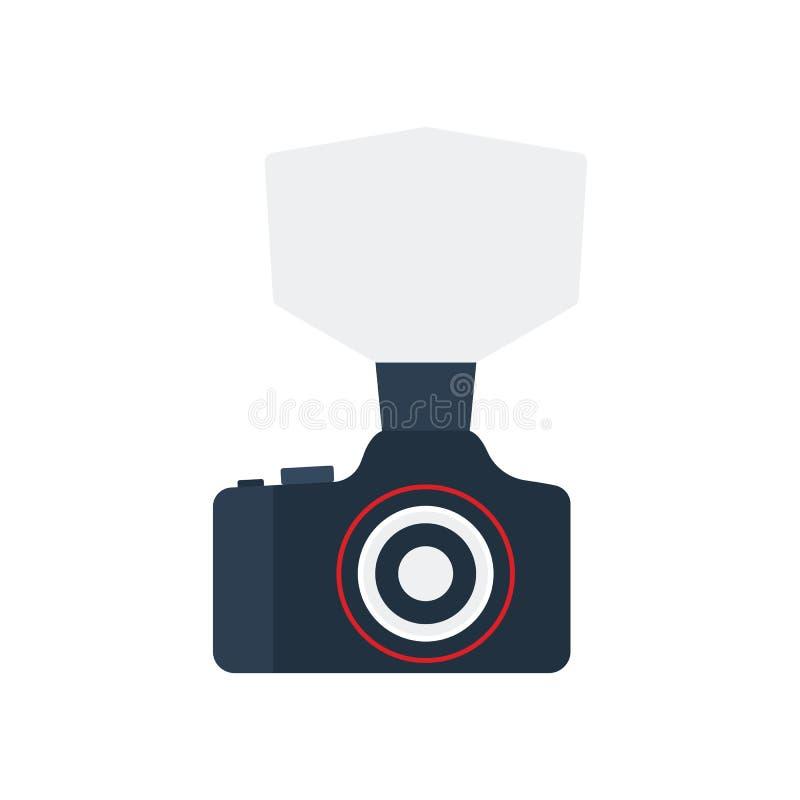 Camera with fashion flash icon stock illustration