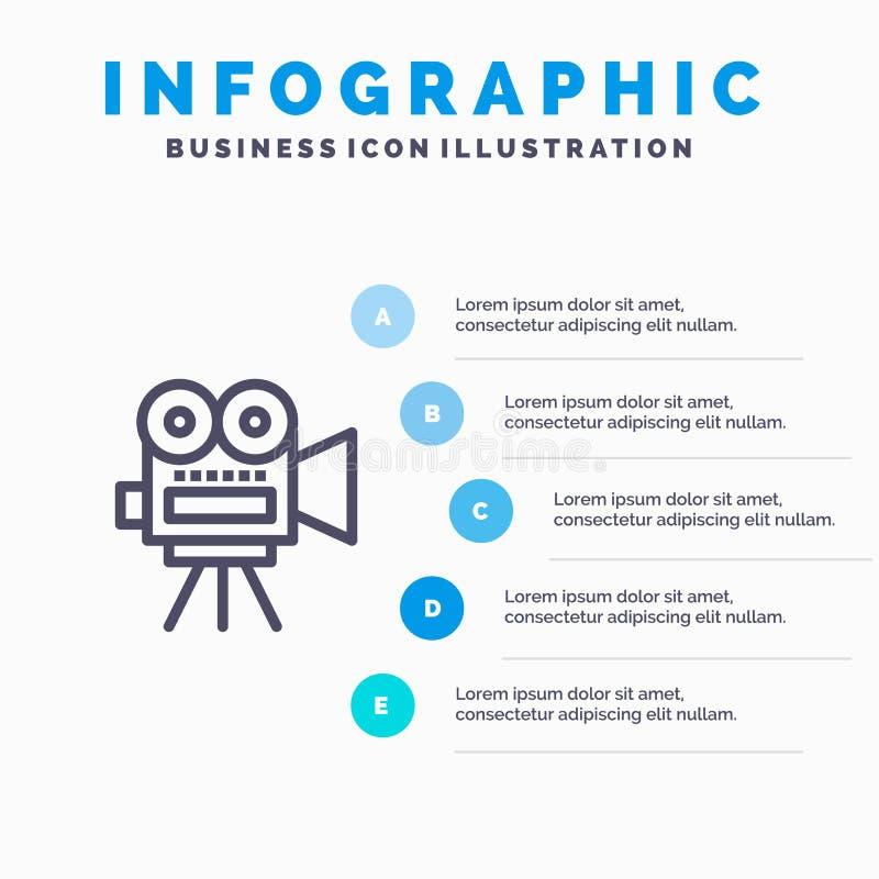 Camera, Film, Film, Malplaatje 5 van Onderwijs Blauw Infographics Stappen Het vectormalplaatje van het lijnpictogram stock illustratie