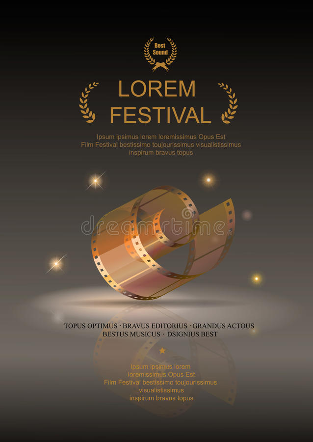 Camera film 35 mm roll gold, festival movie poster stock illustration