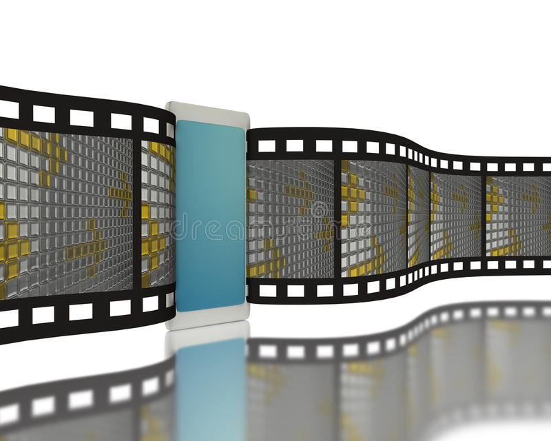 Camera film with mobile phone royalty free illustration